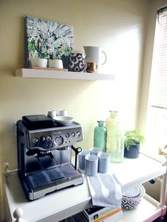"""Really like the idea of a """"breakfast bar"""". Coffee machine, espresso machine, glass juice bottles...maybe a toaster....plates....cute."""