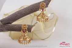 22K Gold Antique Jhumka with No Stones, Gold Jhumka With No Stones, Plain Gold Antique Jhumkas.
