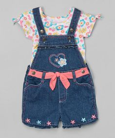 Another great find on #zulily! Pink Floral Top & Blue Denim Shortalls - Infant, Toddler & Girls #zulilyfinds