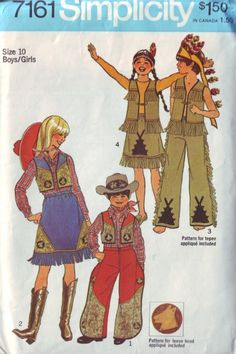 vintage costume pattern---cowboys and indians