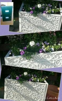 Beautiful file cabinet upcycle into a garden planter with the additional of an easy and beautiful texture source.