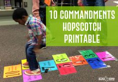 Use this 10 Commandments hopscotch printable from the Love God, Love People lesson to give kids a kinesthetic way to learn the 10 Commandments! Sunday School Classroom, Sunday School Activities, Bible Activities, Sunday School Lessons, Sunday School Crafts, Bible Games, School Staff, Bible Study For Kids, Bible Lessons For Kids