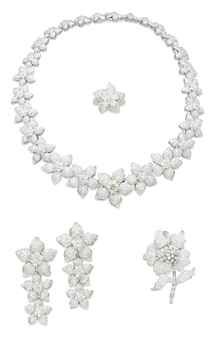 A DIAMOND FLOWER JEWELLERY SUITE Comprising a necklace designed as a series of graduated pavé-set diamond flowerheads, each centering upon a brilliant-cut diamond cluster, a brooch, a pair of ear pendants and a ring en suite, mounted in gold. | Christie's