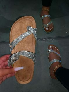 """SIZE Platform Height Approx: 1"""" True to Size Model wears a size 8.5 and is wearing a size 8.5 in this sandal. DETAILS Lightly Padded Insole Cork Platform w/ White Bottom Criss-Cross Toe Stopper Slip-On Entry Silver Rhinestone Embellished Straps (1) Buckle Detailed Strap Silver Sandal Glitter Sandals, Silver Sandals, Cute Sandals, Cute Shoes, Aesthetic Shoes, Silver Rhinestone, Shoe Dazzle, Shoes Heels, Shoes Sneakers"""