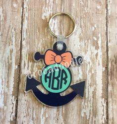 Monogram Anchor Acrylic Keychain - vinyl gift idea