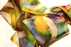 OMG - Silk Scarves by Jonas Gerard. I watched him doing his paintings and now he's decided to add scarves.  Hope I can find a video of that.