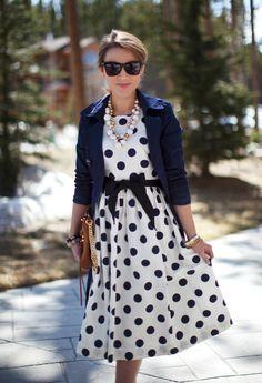 J Crew navy blue and white Polka Dot full skirt knee length Dress with waist sash, navy blue 2/4 sleeve blazer, white large bead bauble necklace, bangle bracelets