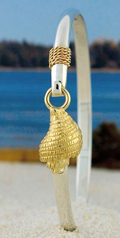 Beautiful 14K Gold Conch Shell on Sterling Silver Hook Bracelet  with 14K Nautical Rope.