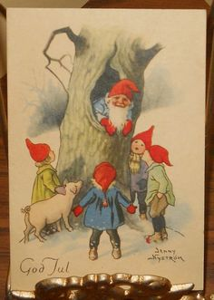 Vintage God Jul Jenny Nystrom Gnomes Winter by memoriestreasures, $16.00