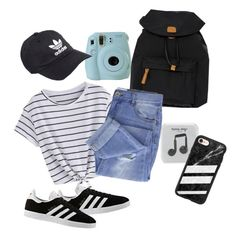 """""""Road Trip- Something Striped Contest"""" by kalliewallie06 ❤ liked on Polyvore featuring Fujifilm, Bric's, Taya, adidas, Happy Plugs and Casetify"""