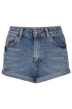 Vintage-Hotpants Mit Hohem Bund