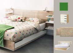 Trendy and charming bedrom with MANDAL bed frame in solid wood with IKEA PS quiltcover set in mulitcoloured dots.