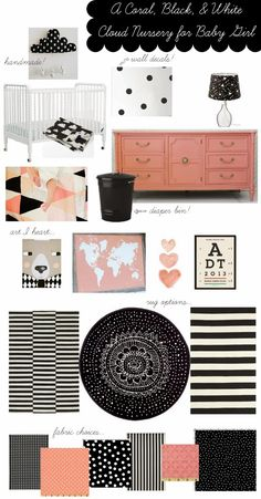A coral, black, and white nursery for a little girl Love! A coral, black, and white nursery for a little girl Clouds Nursery, Nursery Room, Baby Room, Nursery Decor, Nursery Ideas, Room Ideas, Baby Girl Nursery Themes, White Nursery, Coral Nursery