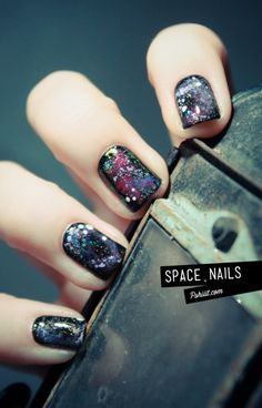 Source from for Outer space nail design