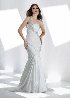 Mermaid One Shoulder Ruched Bodice Beaded Strap Chiffon Wedding Dress-wm0041, $254.95