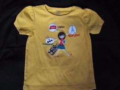 Gymboree, Size 5. Yellow Short Sleeve Knit Top. Girl Traveling With Suitcase. Ready, Dress, Go. Has Light Wash Wear/Pilling. | eBay!