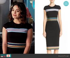 Emily's black midi dress with multi colored stripes on Powerless.  Outfit Details: https://wornontv.net/66075/ #Powerless
