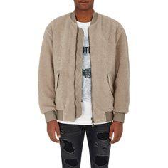 Helmut Lang Men's Fleece Zip-Front Bomber ($895) ❤ liked on Polyvore featuring men's fashion, men's clothing, men's outerwear, men's jackets, grey, mens bomber jacket, mens blouson jacket, mens fleece outerwear and mens fleece jacket