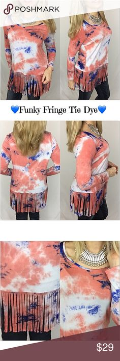 """Funky Fringe Tie Dye Tunic Top SML Be funky & free in this beautiful fringe hem tunic top💙  Features: • Laser Cut Fringe Hem • Coral, Blue & Ivory Tie Die Print • Scoop Collar • Long Sleeves • Soft Stretchy Flowy Relaxed Fit • 96% Rayon / 4% Spandex  Small Bust 34-36 Length 28"""" Medium Bust 38-40 Length 28.5"""" Large Bust 42-44 Length 29.5"""" Tops"""