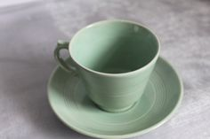 Woods Ware Demi Tasse Small Cup and Saucer in Beryl Green. Utility Ware 1940s. Post War Collectable. 3 Sets Available by AtticBazaar on Etsy