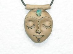 Fairy face pendant. Polymer clay pendant.Spiritual jewelry.