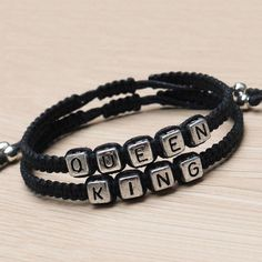 This listing is for 2 bracelets, KING and QUEEN. A perfect choice for anniversary gift, birthday gift, Christmas gift, or a surprise gift for him or her to celebrate or announce your blessed relations