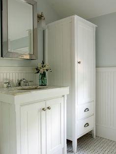 bead board vanity and linen chest (mudroom bathroom idea)