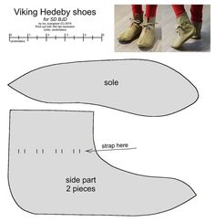 """Although these are for BJD, they actually look pretty good, even including the triangular heel piece. """"SD BJD Viking Hedeby shoes by scargeear"""" Viking Shoes, Viking Garb, Viking Dress, Viking Costume, Viking Clothing, Viking Footwear, Bjd, Norse Vikings, Shoe Pattern"""