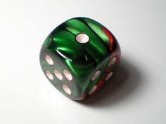Chessex Gemini Green-Red w/White 16mm d6