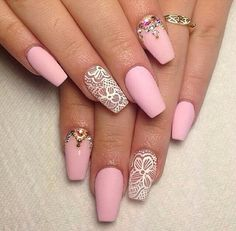 Black Nail Art Stiletto nails pink white lace crystal