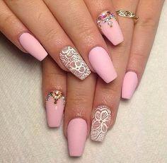 Black Nail Art Stiletto nails pink white lace crystal