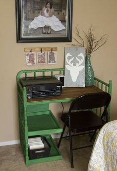 changing table converted to desk, home office, painted furniture, repurposing upcycling Diy House Projects, Diy Wood Projects, Wood Crafts, Fun Crafts, Repurposed Furniture, Painted Furniture, Vintage Furniture, Furniture Makeover, Home Furniture