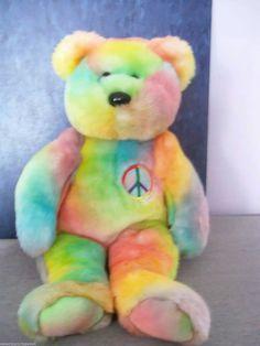 fdbb9bc8caf Plush Rainbow Teddy Buddy Beanie w Peace Symbol Super Soft kawaii