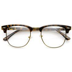 vintage dapper half frame clear lens clubmaster wayfarer glasses zerouv