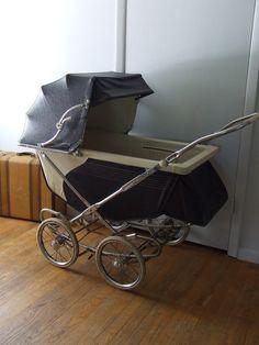 1955 Vintage Stork Line Pram Baby Stroller Buggy Navy Blue and Cream Early Mid Century Infant Nursery via Etsy