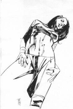 Elektra, in David Dingman's Maleev, Alex Comic Art Gallery Room Human Figure Sketches, Figure Sketching, Figure Drawing, Comic Book Artists, Comic Artist, Daredevil Art, Human Anatomy Art, How To Make Drawing, Body Drawing