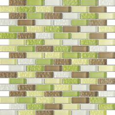 "Crystile Green Glass Mosaic Tile - Tile Size: 1/2"" x 2"" Green, Grey & White"