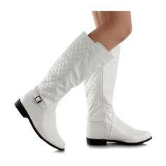 WEST BLVD White Lahore Boot ($20) ❤ liked on Polyvore featuring shoes, boots, knee-high boots, white knee length boots, synthetic boots, knee high buckle boots, quilted boots and white knee boots