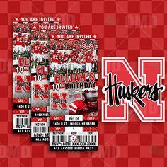 Nebraska Cornhuskers Football Ticket Style Sports Party Invites