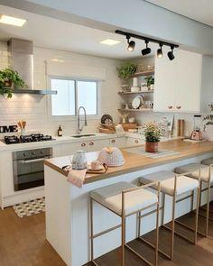Kitchen Room Design, Home Room Design, Modern Kitchen Design, Kitchen Layout, Home Decor Kitchen, Interior Design Kitchen, Kitchen Living, Kitchen Furniture, Home Kitchens
