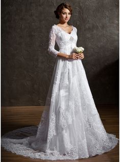 A-Line/Princess V-neck Court Train Beading Sequins Zipper Up Sleeves 3/4 Sleeves Church General Plus No Winter White Tulle Lace Wedding Dress