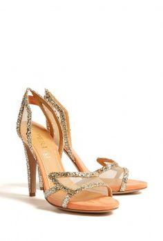 Gold glittler shoes from Aperlai Paris.