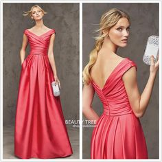 A-line Water Melon Evening Dresses Mermaid Sexy V Neck Backless Capped Sleeve Pleats Sweep Train 2016 Hot Selling Prom Gowns BT75