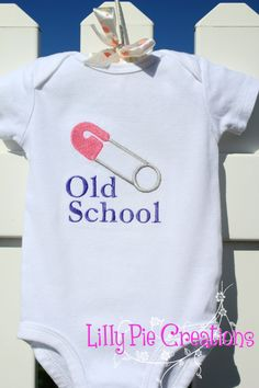 Custom Old School Diaper Pin Onesie by LillyPieCreations on Etsy