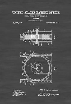 Tesla Turbine Patent 1913 - Patent Prints, Tesla Invention, Tesla Patent, Nikola Tesla, Steampunk Decor, Office Decor, Geek Gifts