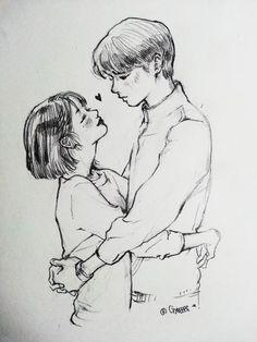 Fanart by gyeeees Kpop Drawings, Couple Drawings, Pencil Art Drawings, Love Drawings, Drawing Sketches, Art And Illustration, Arte Inspo, Cute Couple Art, Anime Sketch
