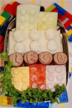 Edible legos to please picky eaters.  Play away!  Visit pinterest.com/arktherapeutic for more #feedingtherapy and #pickyeater ideas