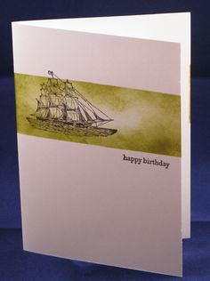 To make this card I masked off a section of the card and then sponged the gap in Old Olive. I then stamped the Ship from the Open Sea in Early Espresso and then added my sentiment using my indispensible stamp-a-ma-jig to ensure perfect placement.from Teen Tiny Wishes