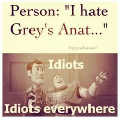 """Person : """"I hate Grey's Anat... """" """" Idiots, Idiots Everywhere"""" ;] JUST KIDDING. but seriously, I Love Grey's Anatomy!! <3 <3"""