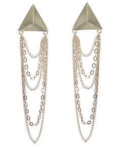 Pyramid Chain Drape Earring - Earrings